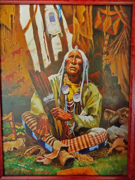 "Dipinto olio su tela - ""Holy Man of the Blackfeet"""